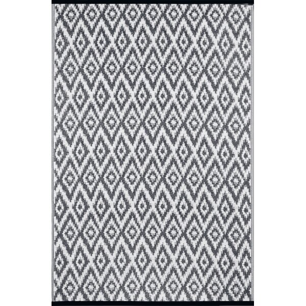 Lightweight Reversible Charcoal Gray/White Indoor/Outdoor Area Rug by Wildon Home®