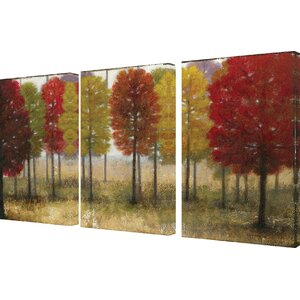 Painted Autumn Grove 3 Piece Framed Painting Print on Canvas Set by Stupell Industries