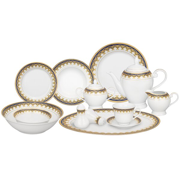 Iris Porcelain 57 Piece Dinnerware Set, Service for 8 by Lorren Home Trends