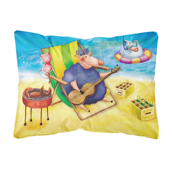 Sallee Pig Sunbathing on the Beach Fabric Indoor/Outdoor Throw Pillow by Winston Porter