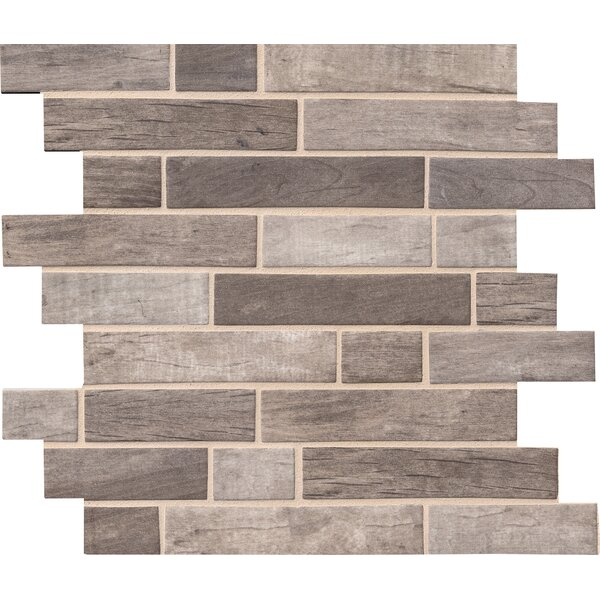 Driftwood Interlocking Random Sized Glass/Stone Mosaic Tile in Gray/Taupe by MSI