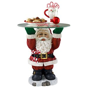 Santa Claus Sculptural Glass-Topped Holiday ..