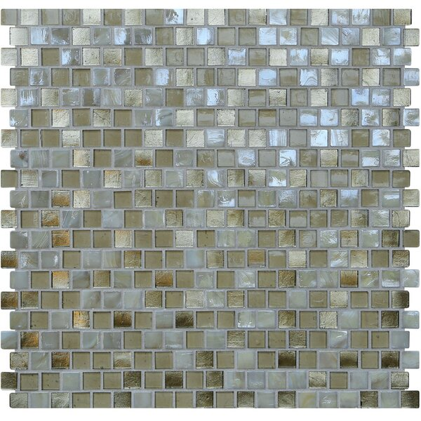 Opal 0.63 x 0.63 Glass Mosaic Tile in Metallic Sand by Kellani