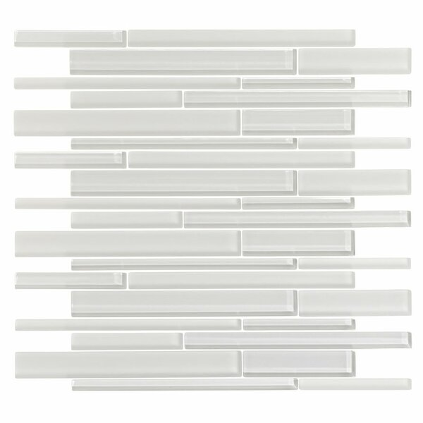 3 x 6 Glass Random Linear Mosaic Tile in Ice White by Vicci Design