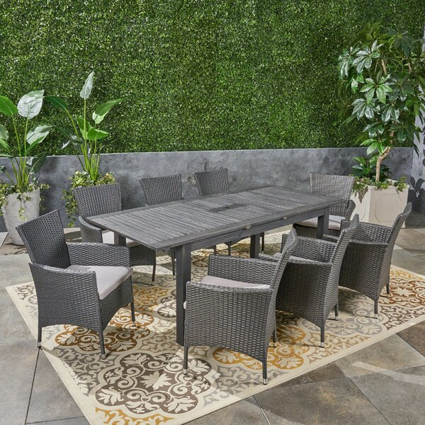 Dibble Outdoor Expandable 9 Piece Dining Set with Cushions by Brayden Studio
