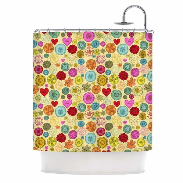Vintage Buttons by Jane Smith Polkadot Shower Curtain by East Urban Home