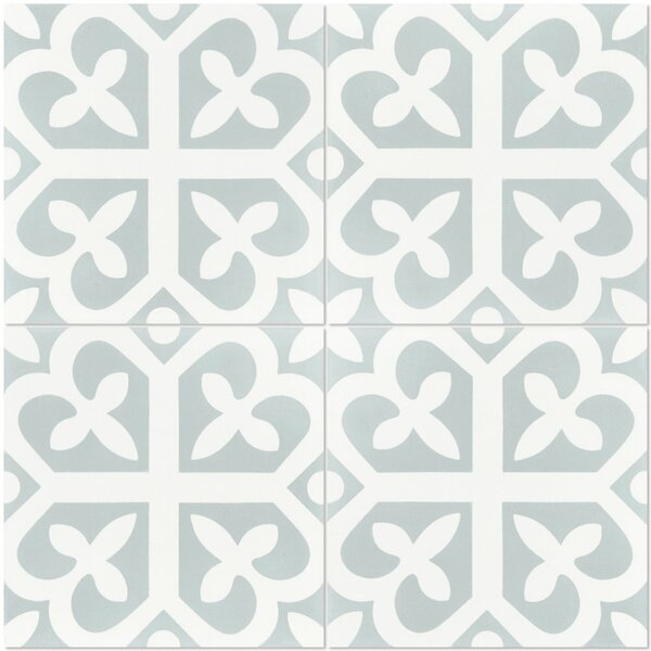 Lucky 8 x 8 Cement Field Tile in White/Green by Villa Lagoon Tile