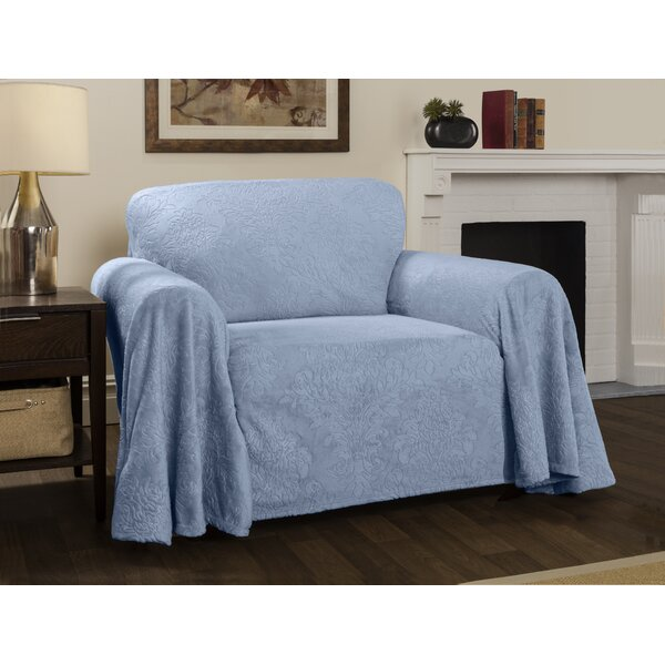 Best Price Plush Damask Throw Armchair Slipcover