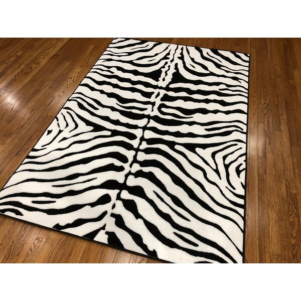 Hoglund Power Loom Indoor Black/White Area Rug by Bloomsbury Market