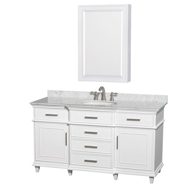 Berkeley 60 Single White Bathroom Vanity Set with Medicine Cabinet by Wyndham Collection