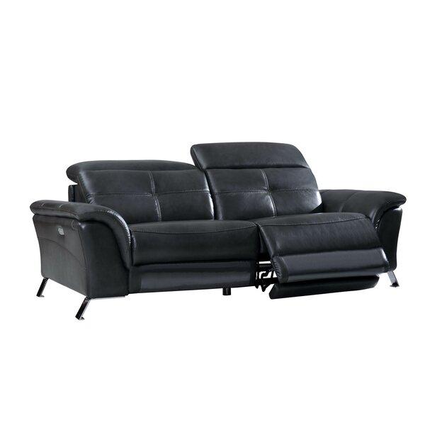 Modern Style Boruta Leather Reclining Sofa by Orren Ellis by Orren Ellis