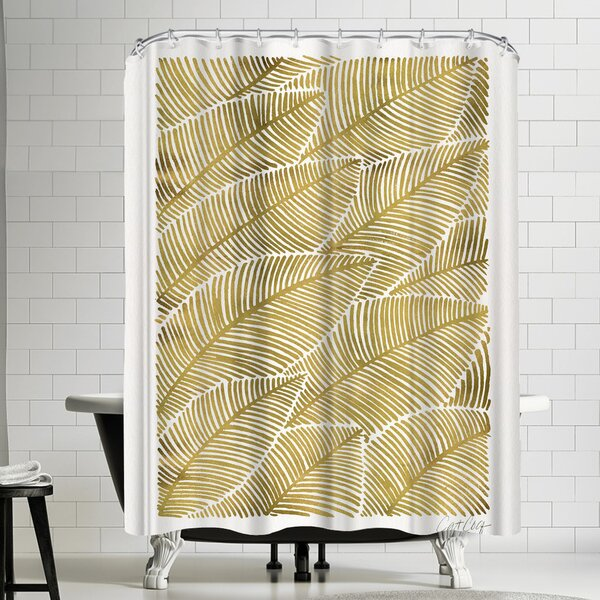Tropical Gold Shower Curtain by East Urban Home