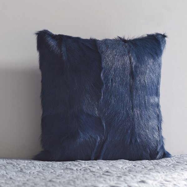 Betts Goat Fur Throw Pillow by Langley Street