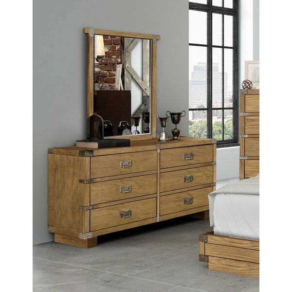 Loft 6 Drawer Double Dresser with Mirror by Millwood Pines