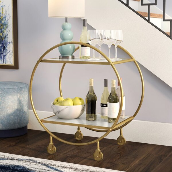 Adkins Marble And Metal Bar Cart By Brayden Studio