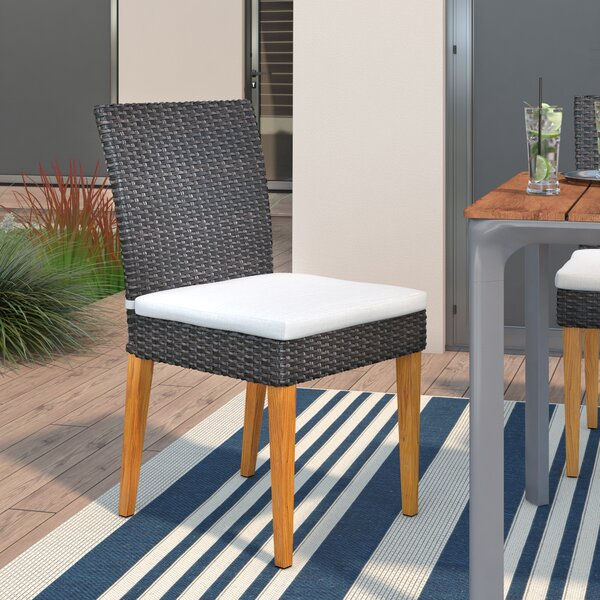 Chandrine Patio Dining Chair with Cushion (Set of 2) by Latitude Run