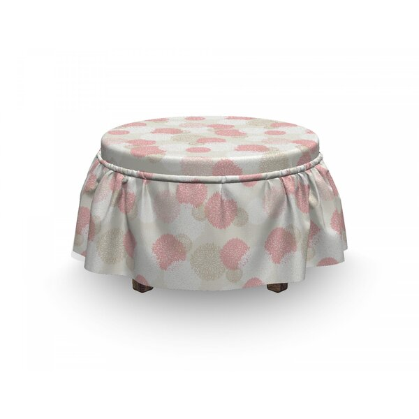 Pastel Soft Spring Floral Motif 2 Piece Box Cushion Ottoman Slipcover Set By East Urban Home
