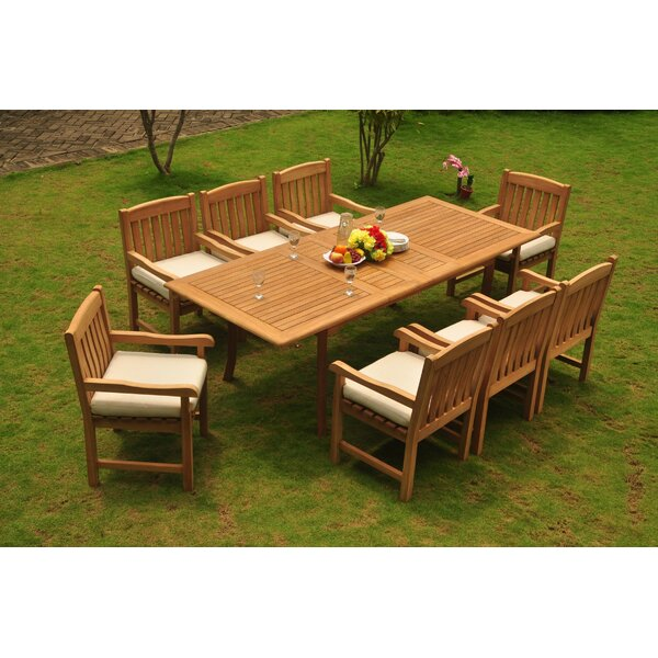 Ulises Luxurious 9 Piece Teak Dining Set by Rosecliff Heights