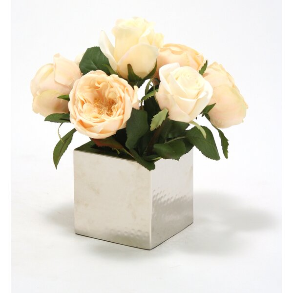 Silk Champagne Cabbage Roses in Square Nickel Planter by Distinctive Designs