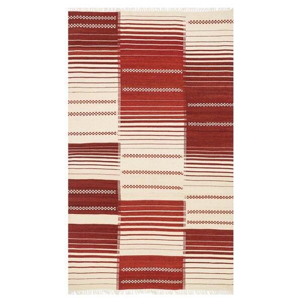 Beller Red/Cream Area Rug by Ebern Designs