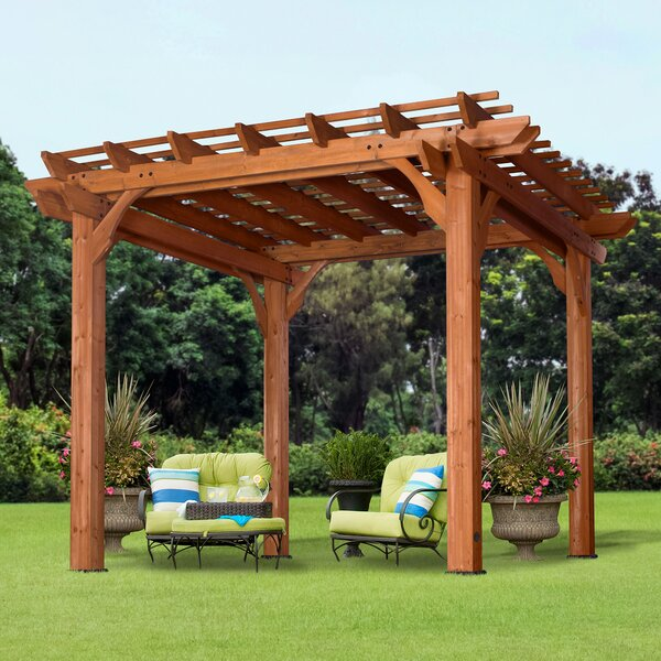 Cedar 10 Ft. W x 10 Ft. D Solid Wood Pergola by Backyard Discovery