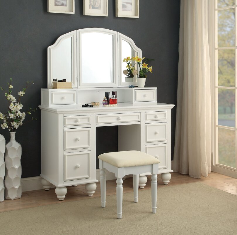 ivory table with bench mirror furniture dresser item france vanity elegant style bedroom set dressing
