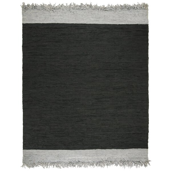 Dahlia Handwoven Vintage Light Gray/Black Area Rug by Gracie Oaks