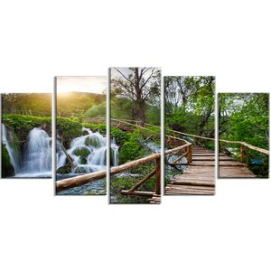 'Pathway in Plitvice Lakes' 5 Piece Wall Art on Wrapped Canvas Set by Design Art