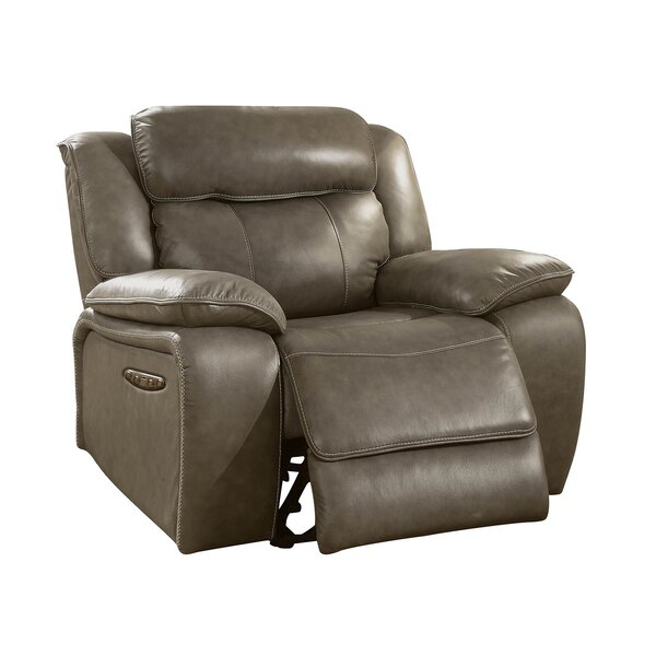 Hamrick Leather Power-Assist Recliner by Red Barre