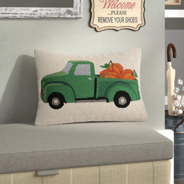 Fall Truck With Pumpkin Wool Lumbar Pillow by August Grove
