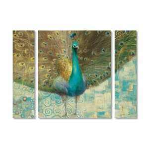 'Teal Peacock on Gold' by Danhui Nai 3 Piece Graphic Art on Wrapped Canvas Set by Trademark Fine Art