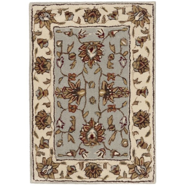 Cloverdale Hand-Hooked Ivory/Gray Area Rug by Charlton Home
