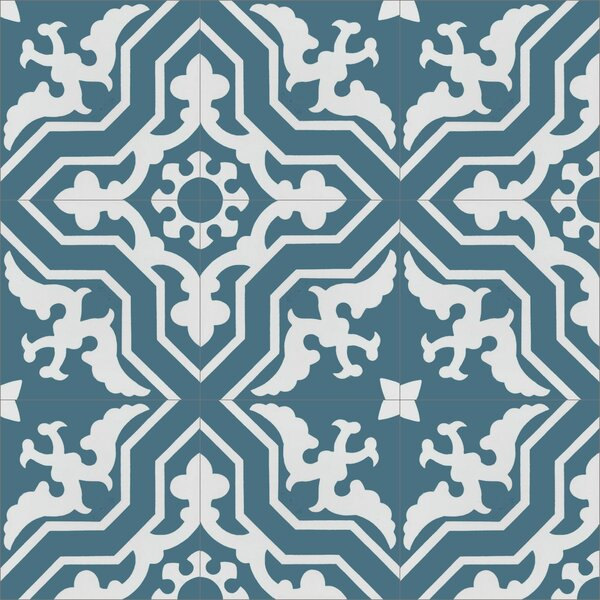 Talia Twilight 8 x 8 Cement Field Tile in Blue/White by Villa Lagoon Tile