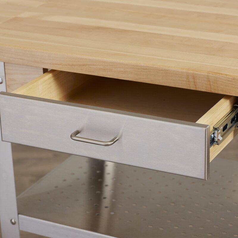 John Boos Cucina Americana Kitchen Cart with Wood Top & Reviews ...