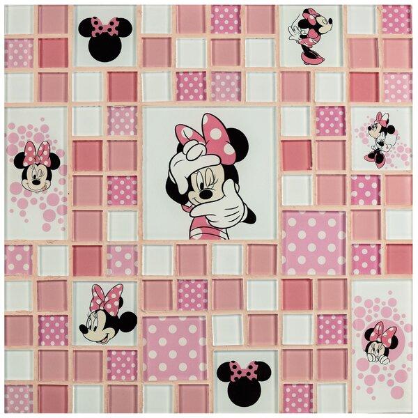 Disney Minnie Random Sized Glass Mosaic Tile in Pink by EliteTile