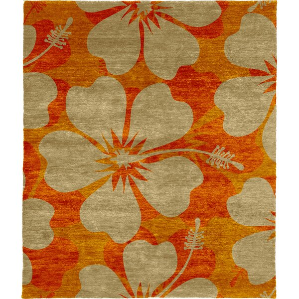 One-of-a-Kind Murph Hand-Knotted Traditional Style Orange/Beige 9' x 12' Wool Area Rug