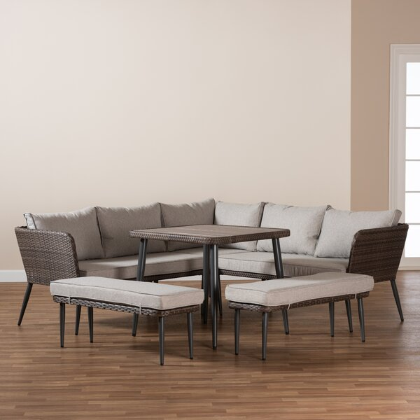 Bedias 5 Piece Rattan Complete Patio Set with Cushions by George Oliver