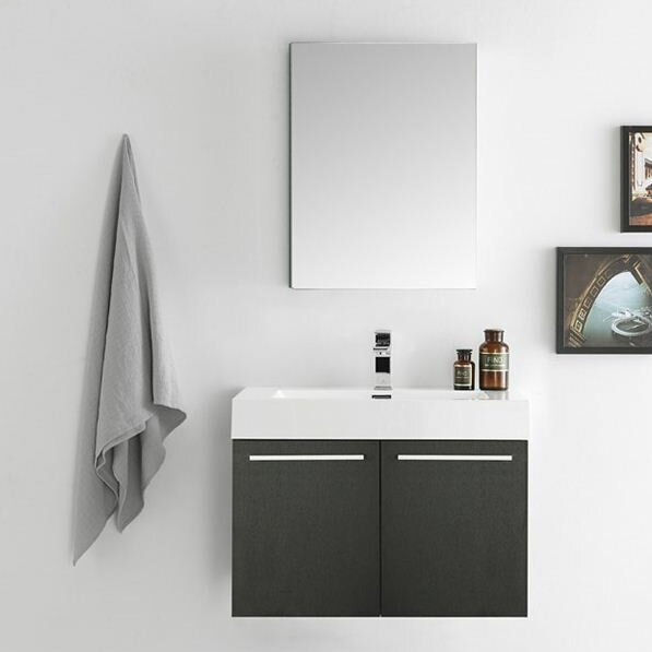 Senza 30 Vista Single Wall Mounted Modern Bathroom Vanity Set with Mirror by Fresca