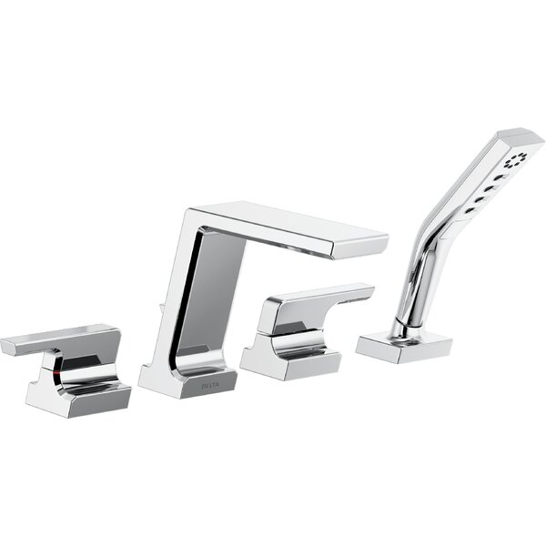 Pivotal Double Handle Deck Mounted Roman Tub Faucet Trim With Handshower By Delta