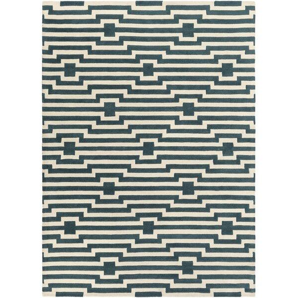 Zeitz Geometric Handmade Tufted Blue/Ivory Area Rug