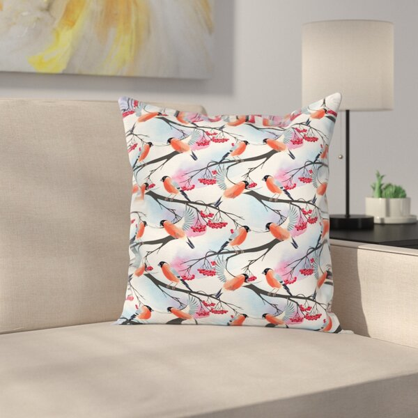 Bullfinch Birds on Shrubs Square Pillow Cover by East Urban Home