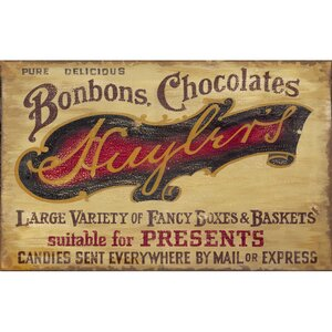 'Chocolate Shop' Textual Art on Wood by Red Horse Arts