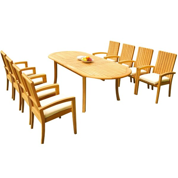 Willett 9 Piece Teak Dining Set Bayou Breeze W001959769
