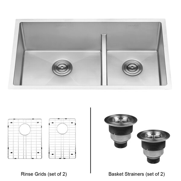 Tirana Low Aqua Double Basin Undermount Kitchen Sink by Ruvati