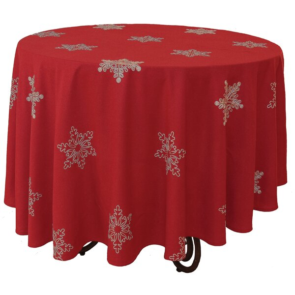 Snowy Noel Embroidered Snowflake Christmas Round Tablecloth by The Holiday Aisle