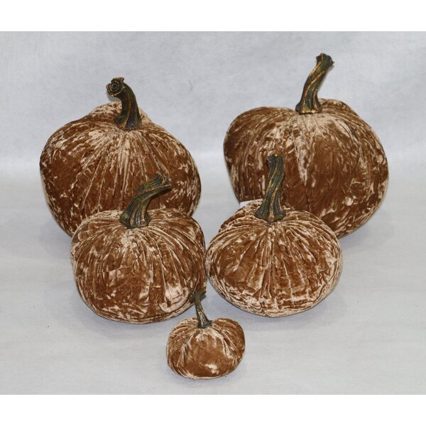 5 Piece Luscious Wrinkled Velvet Inflatable Pumpkin Set by RG Style
