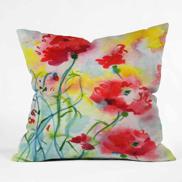 Ginette Fine Art If Poppies Could Only Speak Indoor/Outdoor Throw Pillow by Deny Designs