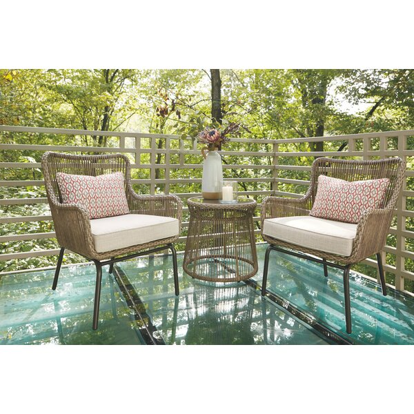 Rochell 3 Piece Rattan Set with Cushions by Wrought Studio