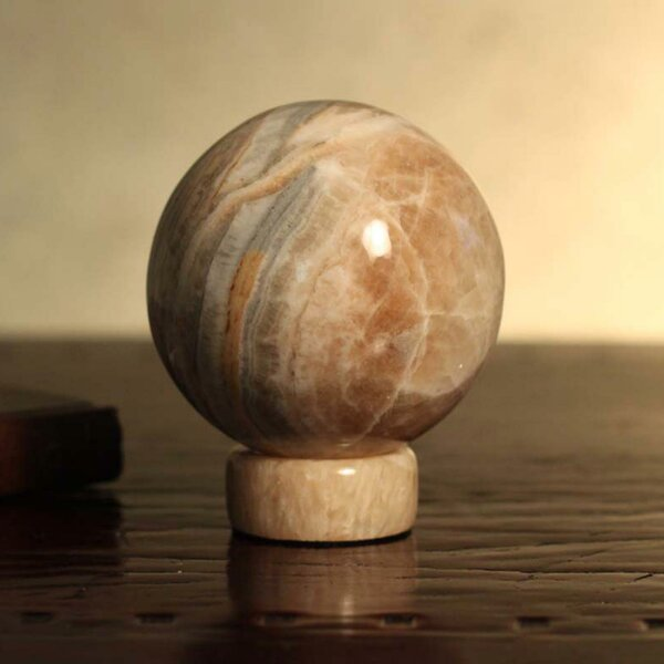 Roney Inner Peace Calcite and Jasper Sphere Gazing Globe by Bloomsbury Market