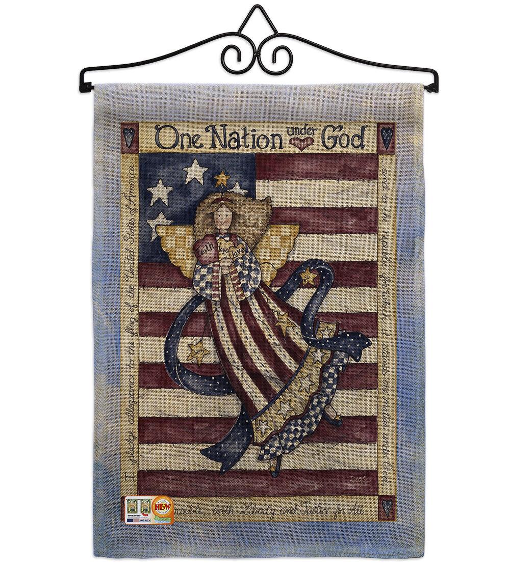 Breeze Decor One Nation Under God American Patriotic 2 Sided Burlap 19 X 13 In Garden Flag Wayfair